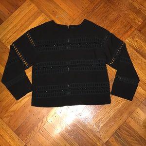 Black 3/4 Sleeve Crop Shirt